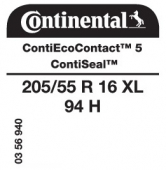 205/55 R16 94H Continental ContiEcoContact 5 XL ContiSeal (VW Caddy III)