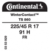 225/45 R17 91H Continental WinterContact TS860 FR
