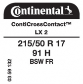 215/50 R17 91H Continental ContiCrossContact LX 2 FR