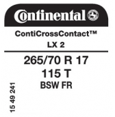 265/70 R17 115T Continental ContiCrossContact LX 2 FR