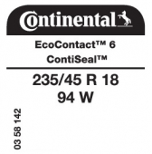235/45 R18 94W Continental EcoContact 6 ContiSeal (VW Passat)