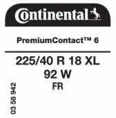 225/40 R18 92W Continental PremiumContact 6 XL FR (Renault Megane GT)