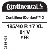 195/40 R17 81V Continental ContiSportContact 3 XL FR (VW up)
