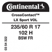 235/60 R17 102H Continental CrossContact LX Sport FR VOL (Volvo)
