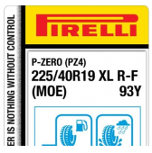 225/40 R19 93Y Pirelli P-Zero PZ4 Luxury Saloon XL Run-Flat (MOE) (Mercedes)