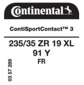 235/35 ZR19 91Y Continental ContiSportContact 3 XL FR (VW Passat Coupe B6)