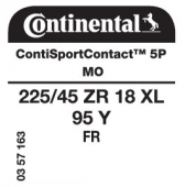 225/45 ZR18 95Y Continental ContiSportContact 5P XL FR MO (Mercedes C-Class AMG)