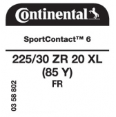225/30 ZR20 (85Y) Continental SportContact 6 XL FR