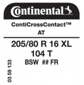 205/80 R16 104T Continental CrossContact AT XL FR