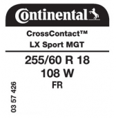255/60 R18 108W Continental CrossContact LX Sport FR MGT (Maserati Levante)