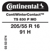205/55 R16 91H Continental ContiWinterContact TS830 P MO (Mercedes)
