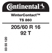 205/60 R16 92T Continental WinterContact TS860