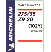 275/35 ZR20 (102Y) Michelin Pilot Sport 4 S XL