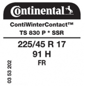 225/45 R17 91H Continental ContiWinterContact TS830 P FR SSR Runflat * (BMW)