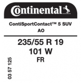 235/55 R19 101W Continental ContiSportContact 5 SUV FR AO (Audi Q5 2nd Gen)