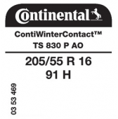 205/55 R16 91H Continental ContiWinterContact TS830 P AO (Audi)