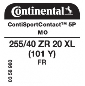 255/40 ZR20 (101Y) Continental ContiSportContact 5P XL FR MO (Mercedes S-Class AMG W222)