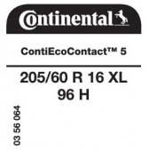 205/60 R16 96H Continental ContiEcoContact 5 XL