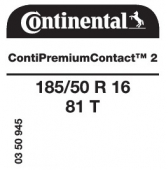 185/50 R16 81T Continental ContiPremiumContact 2