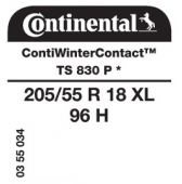 205/55 R18 96H Continental ContiWinterContact TS830 P XL * (BMW)