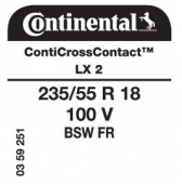 235/55 R18 100V Continental ContiCrossContact LX 2 FR