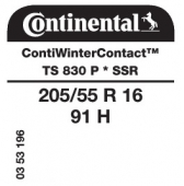 205/55 R16 91H Continental ContiWinterContact TS830 P SSR RunFlat * (Bmw))