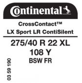 275/40 R22 108Y Continental CrossContact LX Sport XL FR ContiSilent LR (Land Rover)