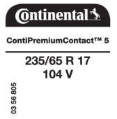 235/65 R17 104V Continental ContiPremiumContact 5 (Renault Espace)