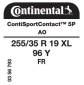 255/35 R19 96Y Continental ContiSportContact 5P XL FR AO (Audi A5)