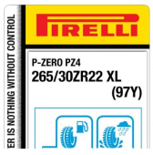 265/30 ZR22 (97Y) Pirelli P-Zero PZ4 Sports Car XL