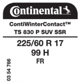 225/60 R17 99H Continental ContiWinterContact TS830 P SUV FR SSR Runflat