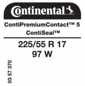 225/55 R17 97W Continental ContiPremiumContact 5 ContiSeal (VW Passat)