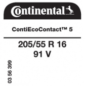 205/55 R16 91V Continental ContiEcoContact 5