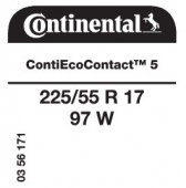 225/55 R17 97W Continental ContiEcoContact 5 (Saab 9-5)