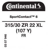 315/30 ZR22 (107Y) Continental SportContact 6 XL FR
