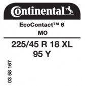 225/45 R18 95Y Continental EcoContact 6 XL MO (Mercedes C-Class W205)