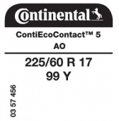225/60 R17 99Y Continental ContiEcoContact 5 AO (Audi A6 C8)