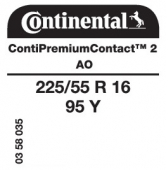 225/55 R16 95Y Continental ContiPremiumContact 2 AO (Audi A4 B8)