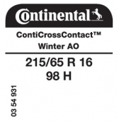 215/65 R16 98H Continental CrossContactWinter AO (Audi)