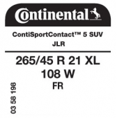 265/45 R21 108W Continental ContiSportContact 5 SUV XL FR J LR (Land Rover)