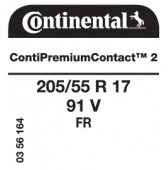 205/55 R17 91V Continental ContiPremiumContact 2 FR (Renault L38)