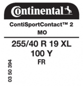 255/40 R19 100Y Continental SportContact 2 XL FR MO (Mercedes S Class W221)