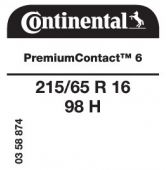 215/65 R16 98H Continental PremiumContact 6
