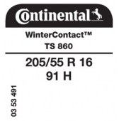 205/55 R16 91H Continental WinterContact TS860