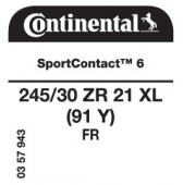 245/30 ZR21 (91Y) Continental SportContact 6 XL FR