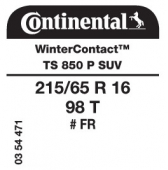 215/65 R16 98T Continental WinterContact TS850 P SUV FR