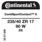 235/40 ZR17 90W Continental ContiSportContact 5 FR