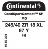 245/40 ZR18 97Y Continental ContiSportContact 5P XL FR MO (Mercedes C-Class AMG Line W205)