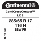 285/65 R17 116H Continental ContiCrossContact LX 2 FR