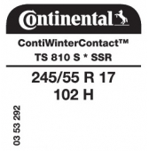 245/55 R17 102H Continental ContiWinterContact TS810 S SSR Runflat * (BMW)